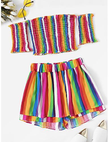 Coraggioso Per Donna Boho - Sofisticato Canotte - A Pieghe, Arcobaleno Pantalone #07221481