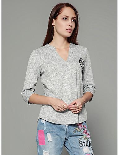 Mulheres Camiseta Sólido Algodão Decote V Branco L