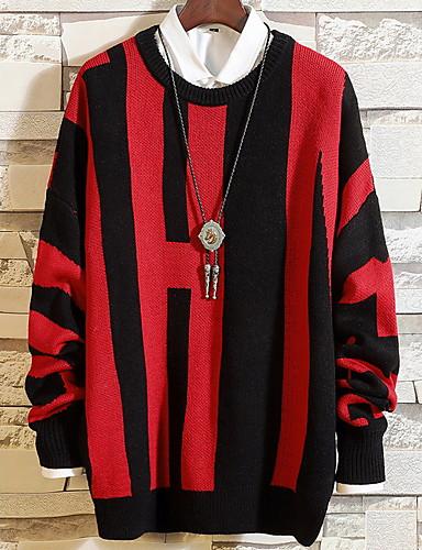 Affidabile Per Uomo A Strisce Pullover Autunno Bianco - Rosso L - Xl - Xxl #07187817 Sentirsi A Proprio Agio
