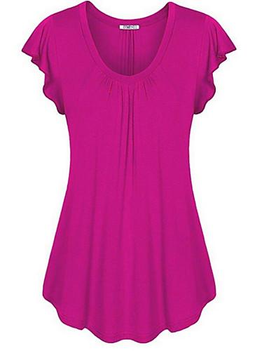 povoljno Ženske majice-Veći konfekcijski brojevi Majica s rukavima Žene Jednobojni Nabori Fuksija