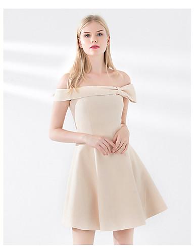 abordables A Moins de 82€-Trapèze Epaules Dénudées Court Satin Robe de Demoiselle d'Honneur  avec Noeud(s) par LAN TING Express