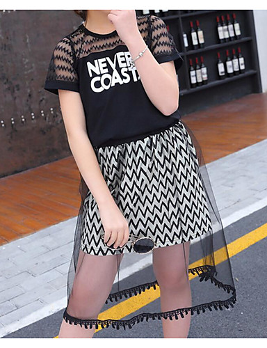 Kids Girls' Basic / Street chic Print Mesh / Print Short Sleeve Cotton / Polyester Clothing Set White