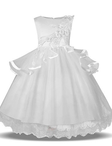 f2c09d44f8c Princess Midi Flower Girl Dress - Tulle Sleeveless Jewel Neck with Petal    Appliques   Tier by LAN TING Express