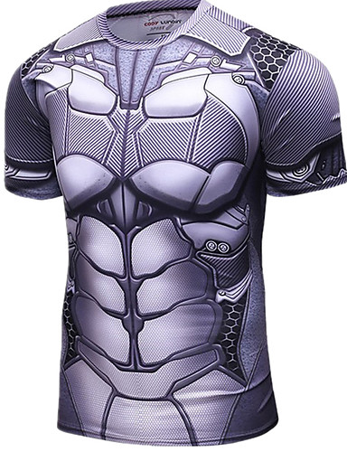 cheap Cycling Clothing-Men's Short Sleeve Cycling Jersey - Silver Super Heroes Bike Jersey Top Breathable Quick Dry Sports Nylon Mountain Bike MTB Road Bike Cycling Clothing Apparel / Micro-elastic