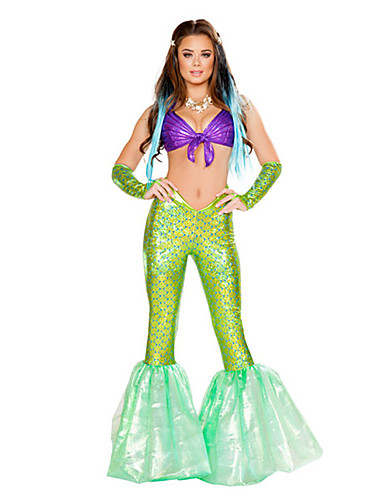 479a8c8de26eb Mermaid Tail Aqua Queen Aqua Princess Cosplay Costume Party Costume Women's  Movie Cosplay Green Pants Bra Halloween Carnival Masquerade Terylene