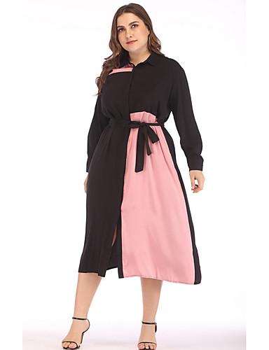 voordelige Grote maten jurken-Dames Elegant A-lijn Jurk - Kleurenblok Midi