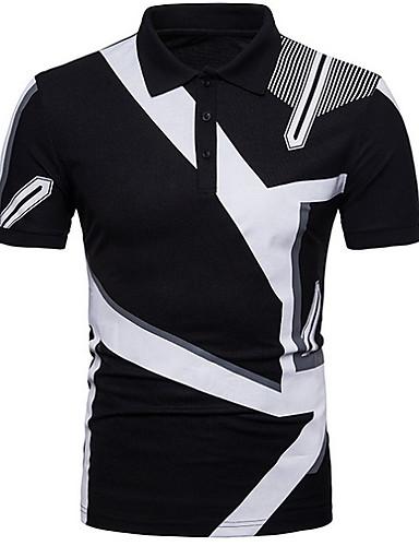 voordelige Herenpolo's-Heren Polo Kleurenblok Overhemdkraag Wit