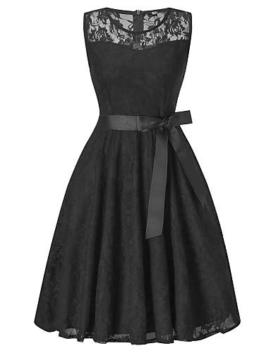billige Kjoler-Dame Vintage Elegant A-linje Skjede Kjole - Ensfarget, Blonde Sløyfe Netting Knelang