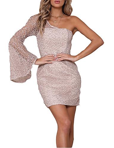 hesapli Seksi Elbiseler-Kadın's Boho Bandaj Elbise - Solid, Şalter Kırk Yama Diz üstü