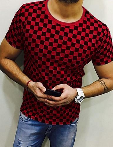 voordelige Heren T-shirts & tanktops-Heren Print EU / VS maat - T-shirt Blokken Ronde hals Wit XXXL