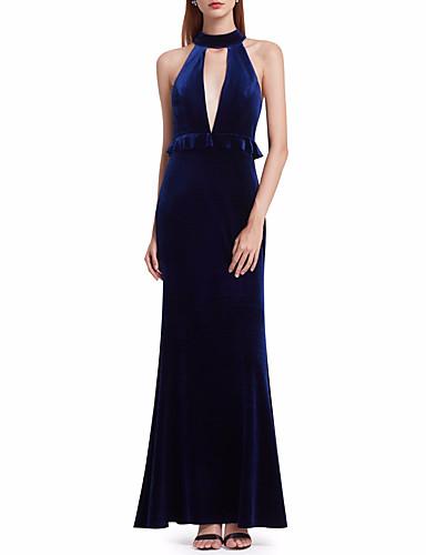 56120a5ac baratos Vestidos para Madrinhas-Linha A Ilusão Decote Longo Chiffon  Aveludado Vestido de Madrinha com