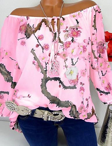billige Dametopper-Løse skuldre Store størrelser T-skjorte Dame - Blomstret, Trykt mønster Gatemote Ut på byen Hvit XXXL / Vår