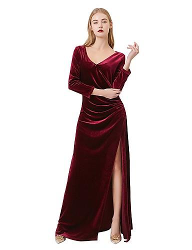 Fourreau / Colonne Col en V Longueur Sol Velours Robe de Demoiselle d'Honneur  avec Ruché par LAN TING Express