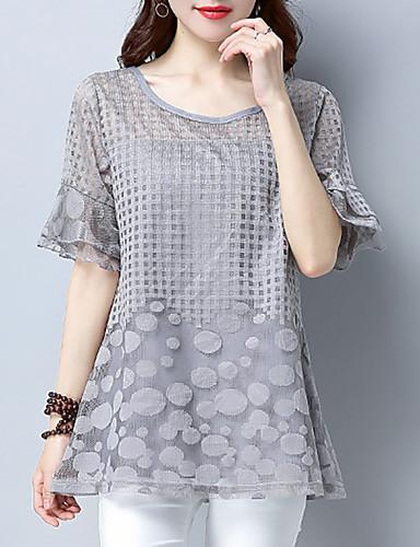 abordables Hauts pour Femme-Tee-shirt Grandes Tailles Femme, Couleur Pleine Maille Noir