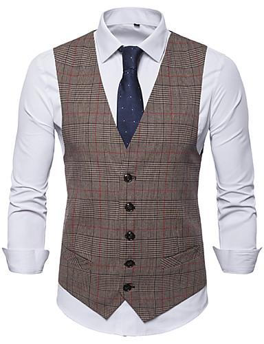 voordelige Herenblazers & kostuums-Heren Vest, Ruitjes Overhemdkraag Katoen / Polyester Bruin / Donkergrijs / Lichtgrijs / Slank