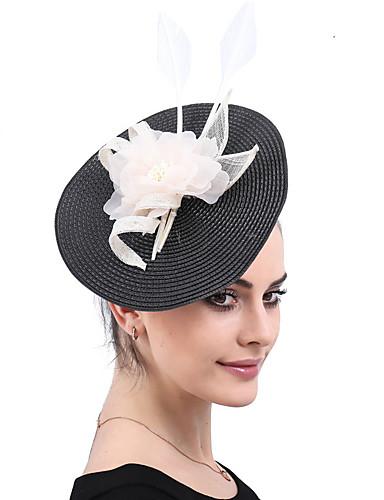 billige Hatte & Imponeringer-polyester / PP+ABS / Kunstig Fjer Kentucky Derby Hat / fascinators / blomster med Fjær / Blomst 1 Deler Bryllup / Fest / aften Hodeplagg