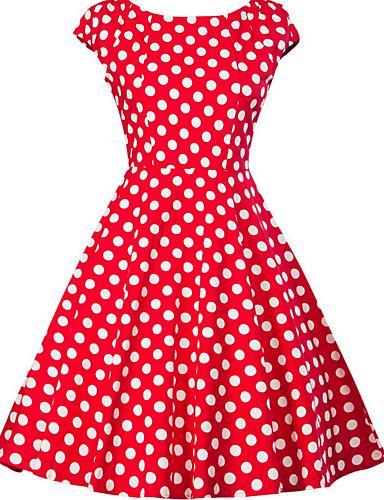 billige Kjoler med polkadotter-Dame Store størrelser Ut på byen 1950-tallet A-linje Kjole - Polkadotter, Trykt mønster V-hals Knelang