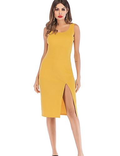 Women's Basic Bodycon Dress - Solid Colored Split Yellow M L XL