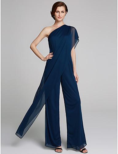 ราคาถูก งานแต่งงาน-pantsuit ไหล่เดียว ลากพื้น ตารางไขว้ แม่ของชุดเจ้าสาว กับ จับย่น โดย LAN TING BRIDE®
