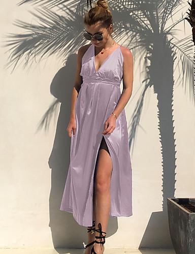 voordelige Maxi-jurken-Dames Street chic Schede Jurk - Effen Maxi