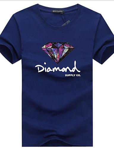 abordables Camisetas y Tops de Hombre-Hombre Estampado - Algodón Camiseta, Escote Redondo Gráfico / Letra Wine XXXL