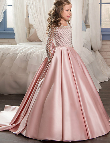 83b772084 Princess Sweep / Brush Train Flower Girl Dress - Lace / Satin / Tulle Long  Sleeve Jewel Neck with Bow(s) by LAN TING Express