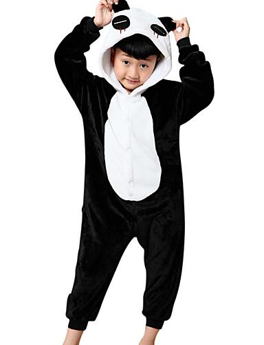 80cda766 Niños Pijamas Kigurumi Oso Panda Animal Pijamas de una pieza Franela Vellón  Negro Cosplay por Niños y niñas Ropa de Noche de los Animales Dibujos  animados ...