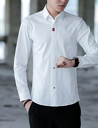 Pánské - Jednobarevné Košile Bavlna Černá XXXL