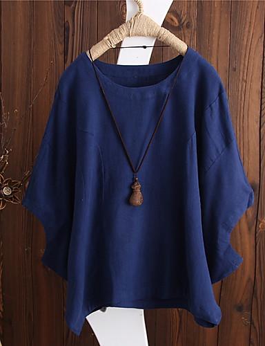 billige Dametopper-Bomull Løstsittende Store størrelser Skjorte Dame - Ensfarget, Lapper Rød XXXL