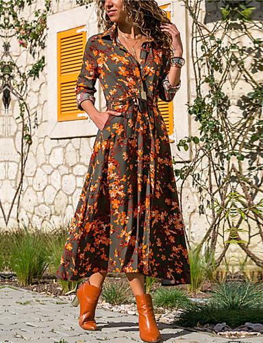 voordelige Maxi-jurken-Dames Standaard Schede Jurk - Bloemen Overhemdkraag Maxi