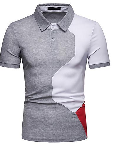 a817478d Men's Slim Polo - Color Block Shirt Collar White L