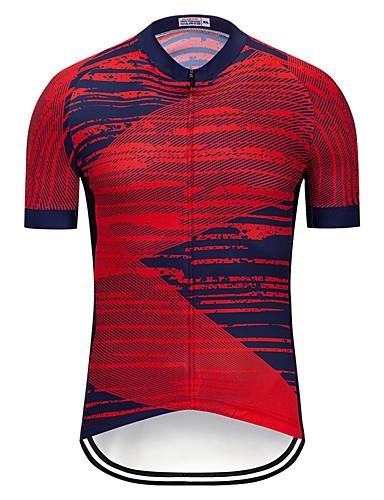 cheap Cycling Clothing-TELEYI Men's Short Sleeve Cycling Jersey - Burgundy Bike Jersey Top Quick Dry Sports Terylene Mountain Bike MTB Road Bike Cycling Clothing Apparel / Micro-elastic