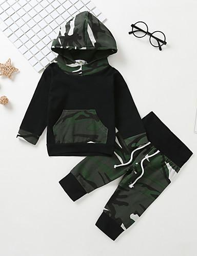 Μωρό Αγορίστικα Καθημερινό / Βασικό Στάμπα Μακρυμάνικο Κανονικό Βαμβάκι Σετ Ρούχων Πράσινο Χακί