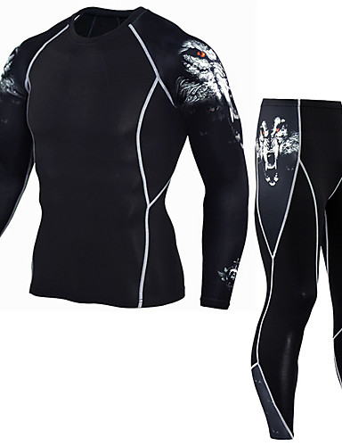 cheap Compression Clothing-Men's Compression Suit Thermal Underwear Set Long Sleeve Compression Base layer Pants T Shirt Plus Size Lightweight Breathable Quick Dry Soft Sweat-wicking Grey Red+Blue Rough Black Winter Road Bike