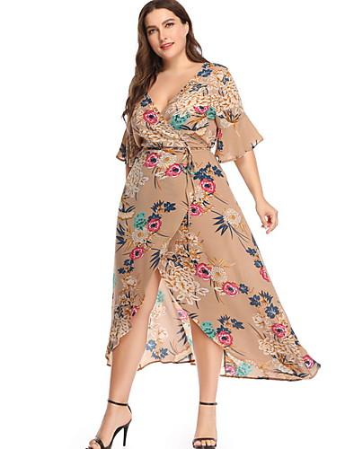 voordelige Grote maten jurken-Dames Slank Chiffon Jurk V-hals Midi