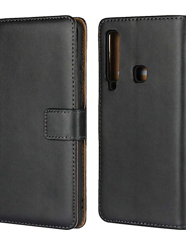 Etui Käyttötarkoitus Samsung Galaxy A5(2018) / A6 (2018) / A6+ (2018) Lomapkko / Korttikotelo / Tuella Suojakuori Yhtenäinen Kova aitoa nahkaa