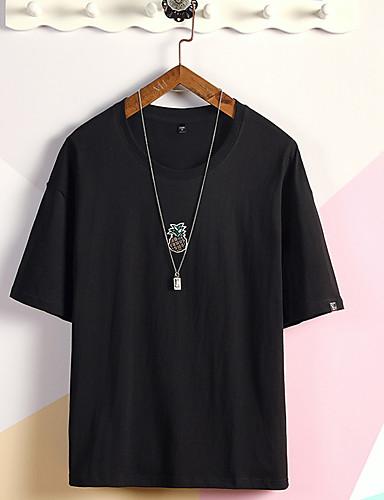 Enfärgad Bomull T-shirt Herr Rund hals Vit L