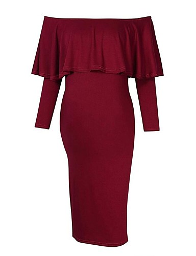 aa48fbf0 Women's Street chic Sheath Dress - Solid Colored Black Wine Royal Blue M L  XL
