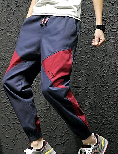 男性用 ストリートファッション ハーレム / チノパン パンツ - カラーブロック ブルー