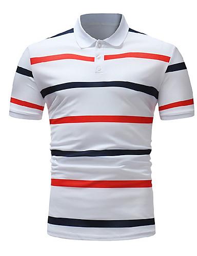 voordelige Herenpolo's-Heren Polo Katoen Gestreept Overhemdkraag Wit