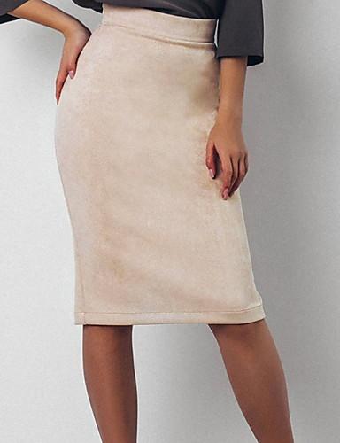 8e0033b54 Faldas largas hasta la rodilla / bodycon de las mujeres - color sólido