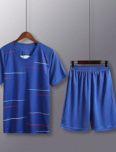 71a25a033 Men's Soccer Soccer Jersey and Shorts Clothing Suit Breathable  Sweat-wicking Team Sports Active Training Football Stripes Polyester Adults Deep  Blue