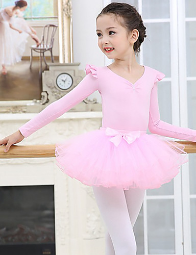 voordelige Shall We®-Kinderdanskleding / Ballet Outfits Meisjes Opleiding / Prestatie Spandex / Netstof Gelaagde ruches Lange mouw Rokken / Gympak / Onesie