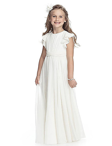 f118c4b73a6 A-Line Round Neck Floor Length Chiffon Junior Bridesmaid Dress with Sash    Ribbon by LAN TING Express   First Communion