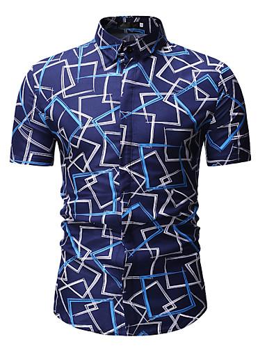voordelige Herenoverhemden-Heren Print Overhemd Geometrisch Klassieke boord blauw / Korte mouw