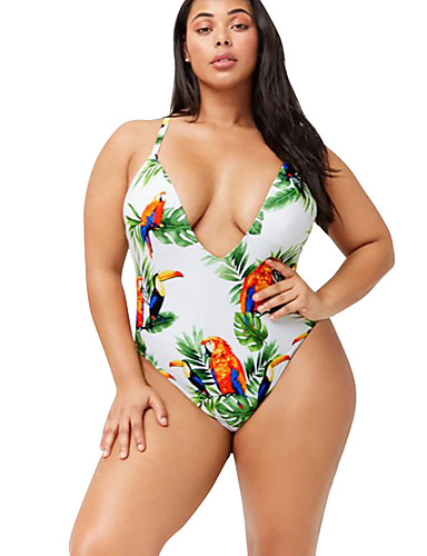 2150f78e81f Women s Boho White Triangle Cheeky One-piece Swimwear - Floral Backless  Criss Cross Print XL XXL XXXL White