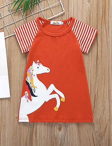 billige Unicorn Dresses-Barn Baby Jente Grunnleggende søt stil Unicorn Stripet Dyr Lapper Trykt mønster Kortermet Ovenfor knéet Kjole Vin / Bomull