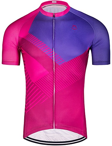 cheap Cycling Clothing-Men's Short Sleeve Cycling Jersey - Rose Red Stripes Bike Jersey Top Breathable Quick Dry Sports 100% Polyester Mountain Bike MTB Road Bike Cycling Clothing Apparel / Stretchy