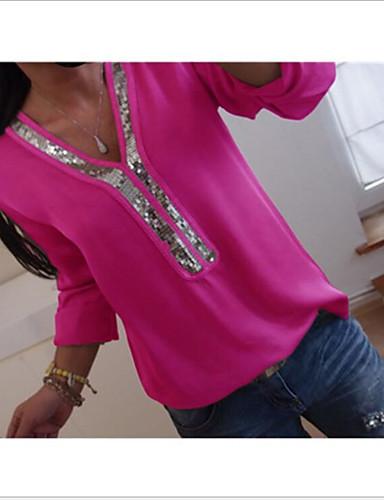 billige Topper til damer-Løstsittende V-hals Store størrelser T-skjorte Dame - Ensfarget Fuksia XXXL