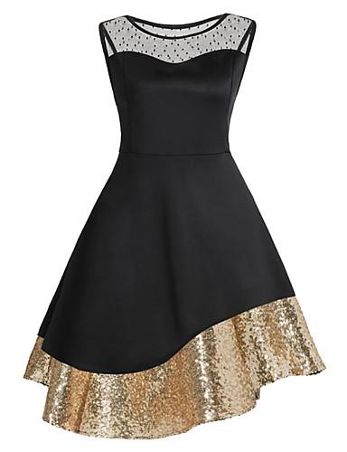 cheap Women's Dresses-Women's Vintage Shift Dress - Solid Colored Sequins Black XXXL XXXXL XXXXXL